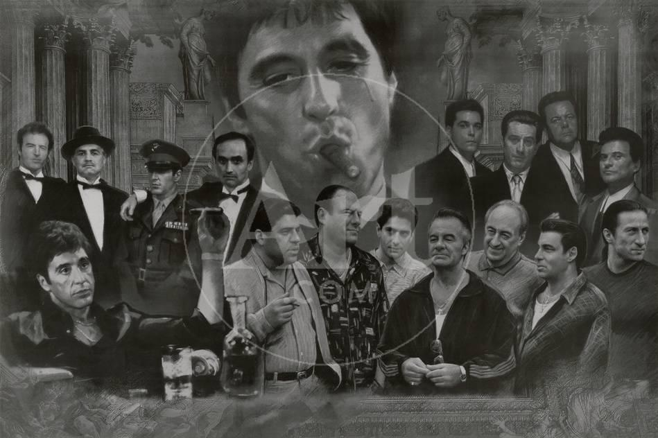 Gangsters Collage Godfather Goodfellas Scarface Sopranos Movie ...