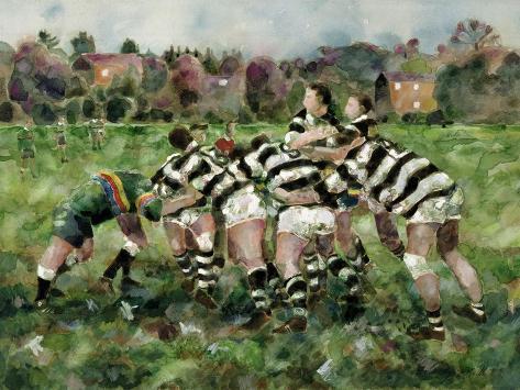 A Rugby Match, 1989 Giclée-Druck
