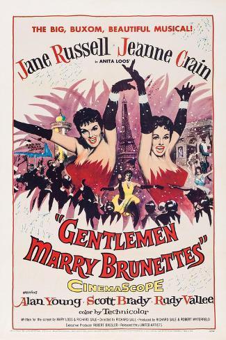 Gentlemen Marry Brunettes, Jane Russell, Jeanne Crain, 1955 Kunstdruk