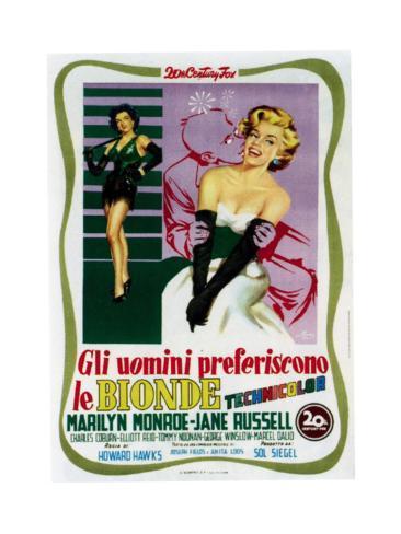 Gentlemen Prefer Blondes (aka Gli Uomini Preferiscono Le Bionde), Italian Poster Art, 1953 Giclée-Druck