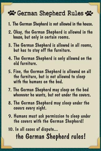 German Shepherd House Rules Poster
