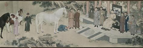 Qazaq présentant len tribut leurs chevaux à l'empereur Qianlong Gicléedruk