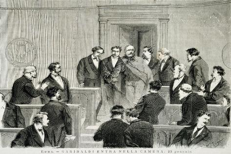 Giuseppe Garibaldi Entering the House of Representatives January 25 Giclée-Druck