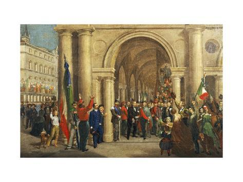 Giuseppe Garibaldi Welcomed Wholeheartedly in Vicenza, March 7, 1867 Giclée-Druck