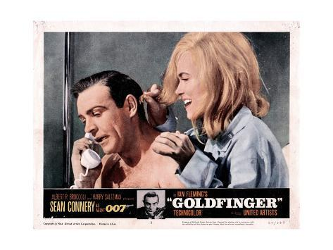 Goldfinger, from Left, Sean Connery, Shirley Eaton, 1964 Giclée-Druck