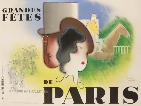 Grandes Fetes De Paris, 1934 French Travel and Tourism Poster Giclée-Druck