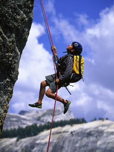 Boy Rock Climbing, California Fotografie-Druck
