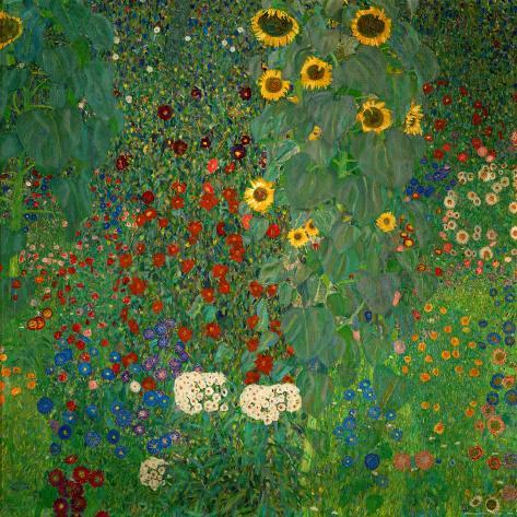 Bauerngarten mit Sonnenblumen, ca.1912 Kunstdruck