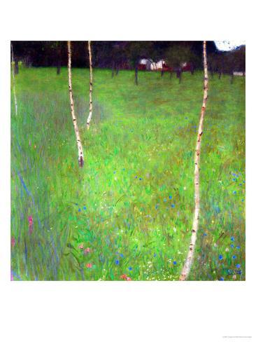 Farmhouse with Birch Trees Giclée-Druck