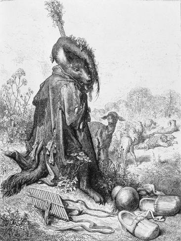 The Wolf Turned Shepherd, Illustration from 'Fables' by La Fontaine, 1868 Giclée-Druck