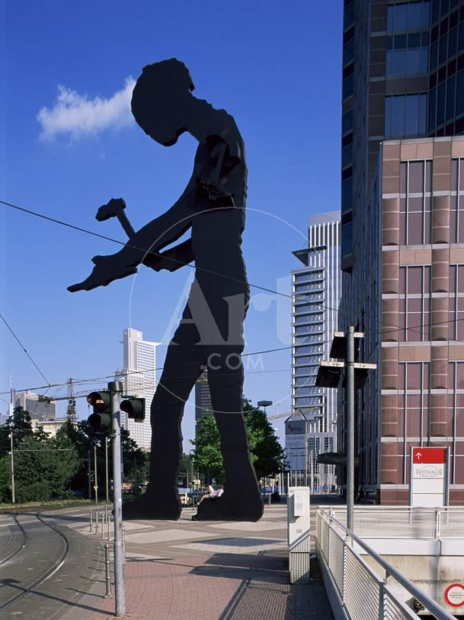 Statue of a Hammering Man, Frankfurt-Am-Main, Hesse, Germany ...