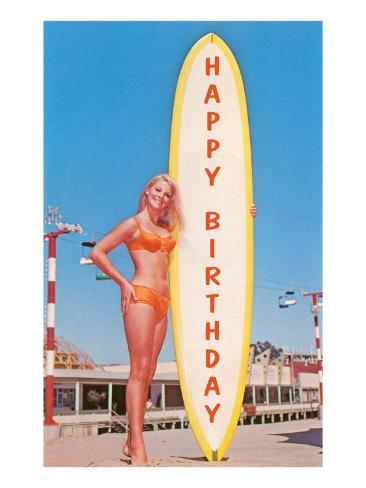 Happy Birthday, Blonde with Long Board Kunstdruck