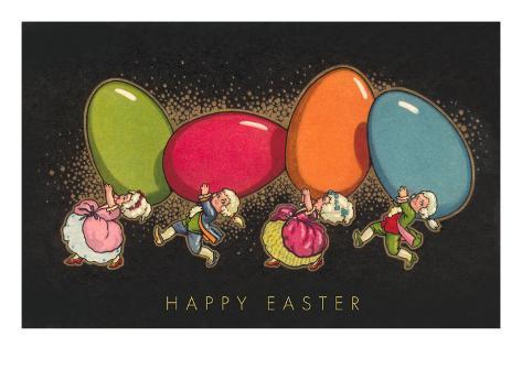 Happy Easter, Colonial Children with Eggs Kunstdruck