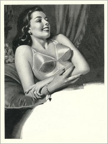 Happy Lady with Brassiere Kunstdruck