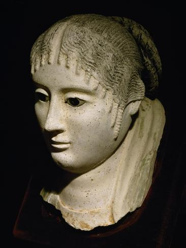 Head of Lady, Statue in Painted Stucco, from Fayoum, Roman Empire Giclée-Druck