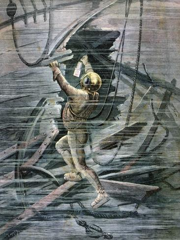 A Diver Searching a Wreck in La Havre Harbour, France, 1892 Giclée-Druck
