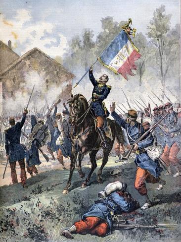 Death of Colonel Malleville, Battle of Solferino, 24th June 1859 Giclée-Druck
