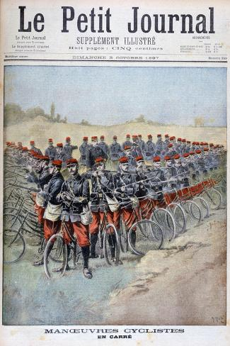 French Army Bicycle Corps in a Square on Manoeuvres, France, 1897 Giclée-Druck