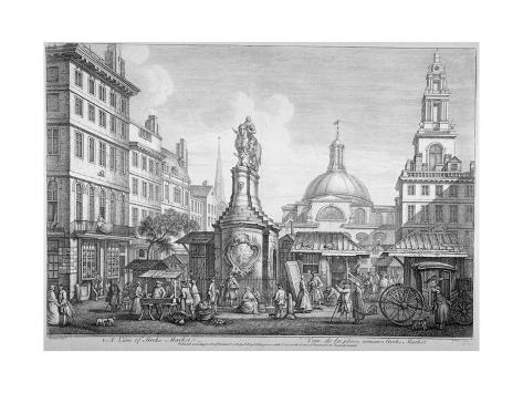 View of the Stocks Market, Poultry, City of London, 1753 Giclée-Druck