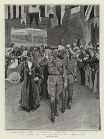 Lord Kitchener on His Way to His Carriage at Southampton Giclée-Druck