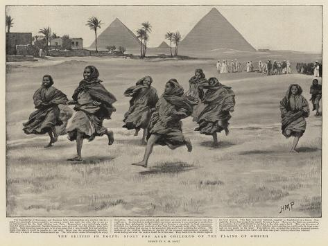 The British in Egypt, Sport for Arab Children on the Plains of Ghizen Giclée-Druck