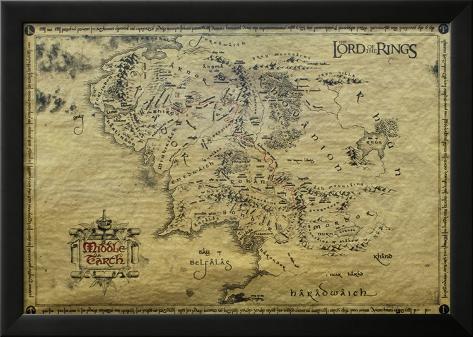 Herr der Ringe - Landkarte, Englisch Laminiertes gerahmtes Poster
