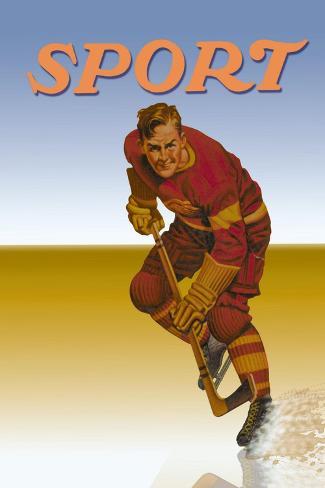 Hockey Player Shredding Ice Wandtattoo