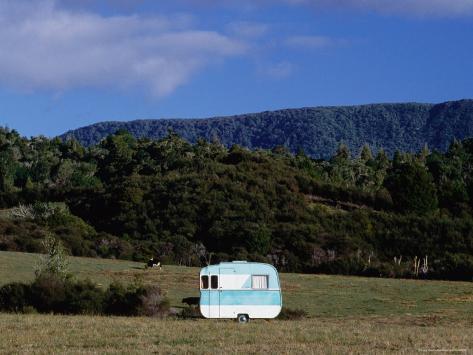 Caravan and a Cow in Field, Near Waima Fotografie-Druck