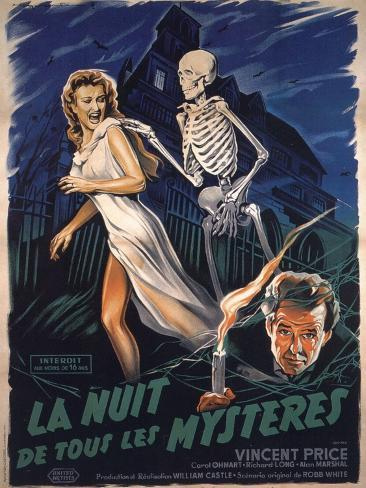House On Haunted Hill, French Movie Poster, 1958 Kunstdruck