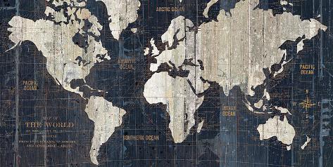 Old World Map Blue Poster von Hugo Wild bei AllPosters.de