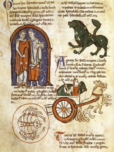 Illuminated Page Depicting Allegories of the Zodiac and the Constellations, Italy 14th Century Giclée-Druck