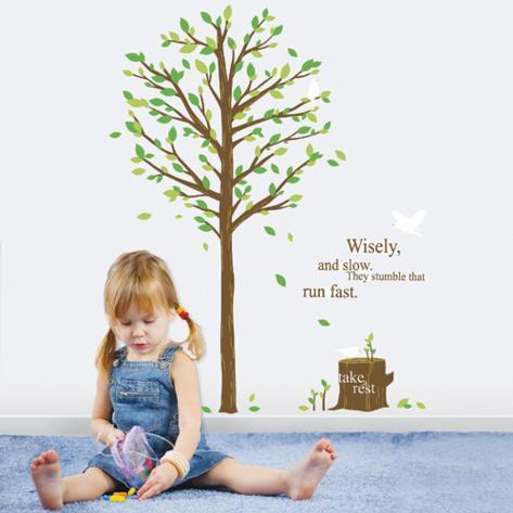 Inspirational Quote Tree Stump Forest Bird Muursticker