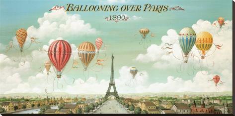 Heißluftballons über Paris Bedruckte aufgespannte Leinwand