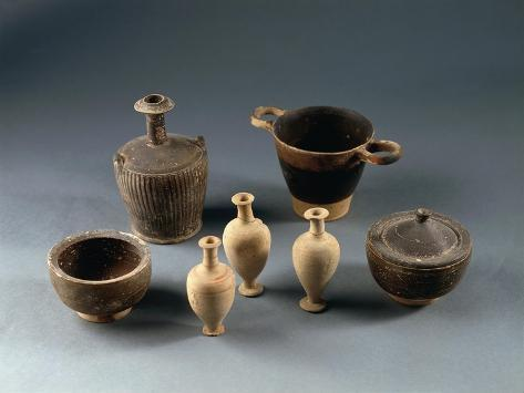 Italy, Sicily, Naxos, Jars and Vases from the Necropolis of San Venero Giclée-Druck