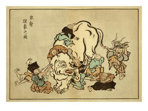 Blind Monks Examining an Elephant Kunstdruck
