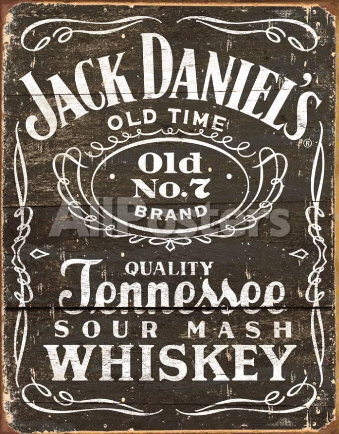 Jack Daniels - Holzoptik Logo Blechschild bei AllPosters.de