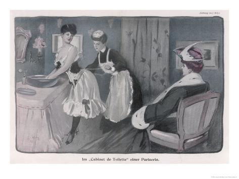 Ladies' Maid Tightens Her Mistress's Corset Giclée-Druck