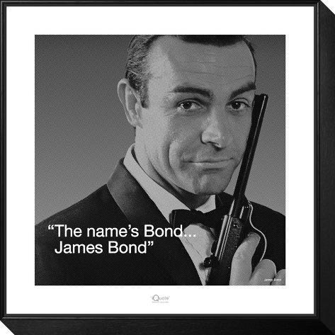 James Bond: Bond Gerahmter, auf Holz aufgezogener Druck