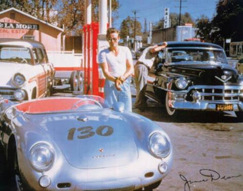 James Dean Movie (Porshe) Druck aufgezogen auf Holzplatte