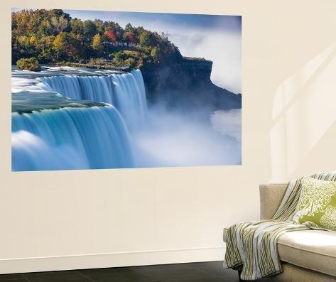Muurposters New York.Canada And Usa Ontario And New York State Niagara Niagara Falls The American And Canadian Falls