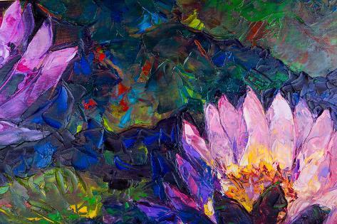 Oil Painting Of Beautiful Lotus Flower Poster Von Jannoon028 Bei