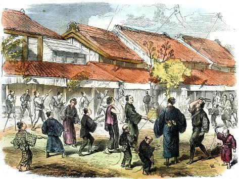 Japanese Game of Battledore and Shuttlecock in the Streets of Yokohama, 1865 Giclée-Druck
