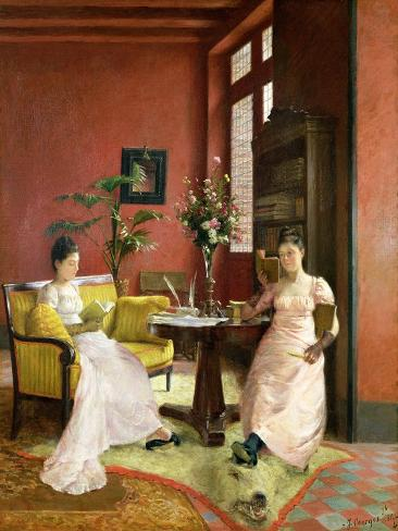 Two Women Reading in an Interior Giclée-Druck