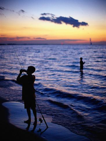 Boys Fishing, Lake Erie, OH Fotografie-Druck