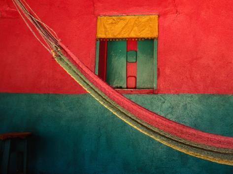 Detail of Painted House Facade with Shutter and Hammock, La Venta Del Sur,Choluteca, Honduras Fotografie-Druck