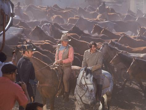 Actor John Wayne During Filming of Western Movie