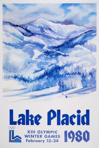 Lake Placid 1980 - Mountain Text Kunstdruck