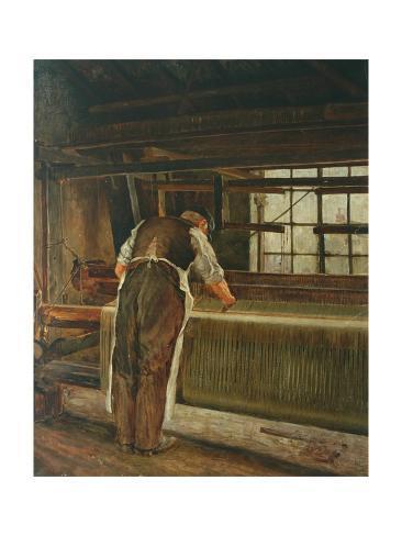 Weaving on a Loom Giclée-Druck