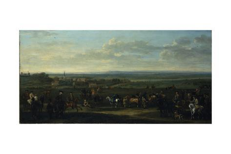 A View of Old Newmarket with Figures and Horses on the Heath Giclée-Druck