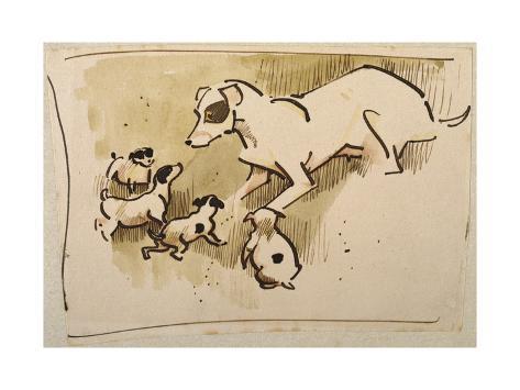 Fox Terrier and Puppies Giclée-Druck